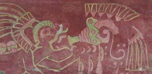 Tigre tocando caracol Mural Teotihuacan